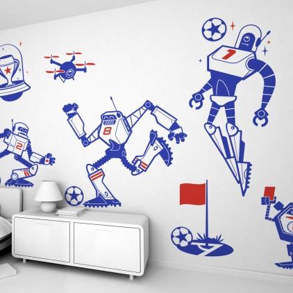 stickers enfant football et robots