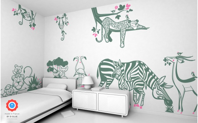 kids wall decals savannah animals - zebra, lioness, gazelle