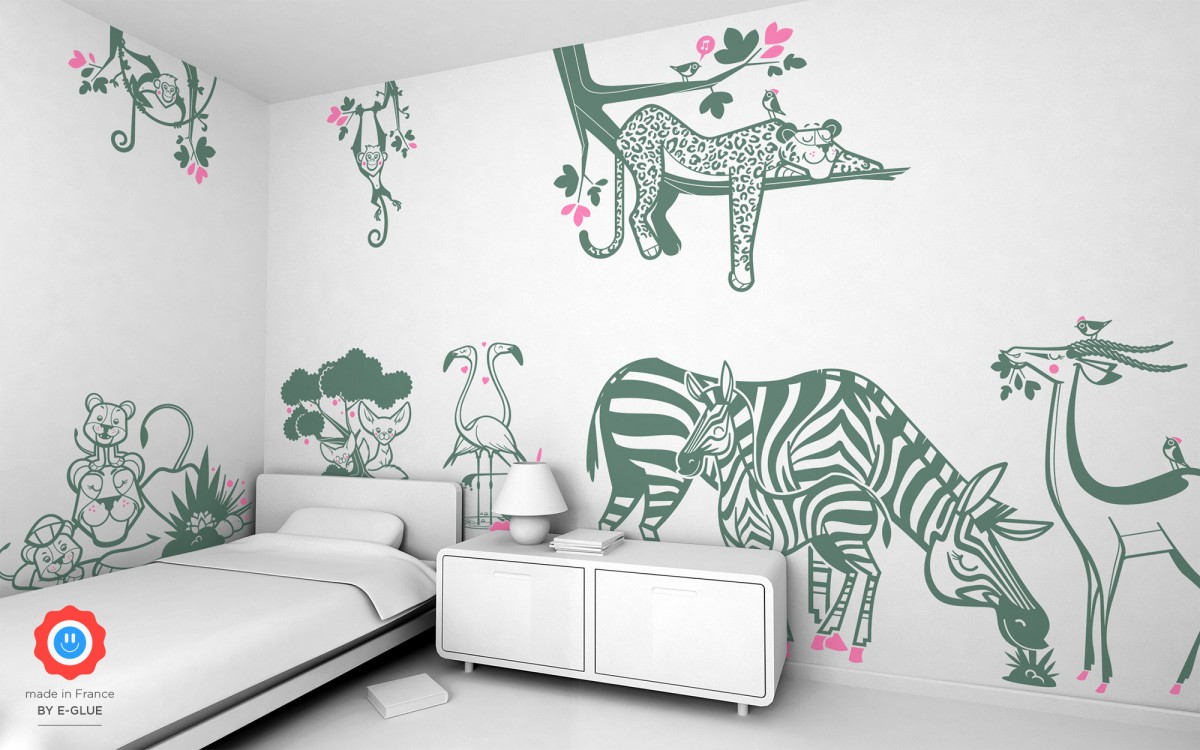 stickers enfant flamants roses