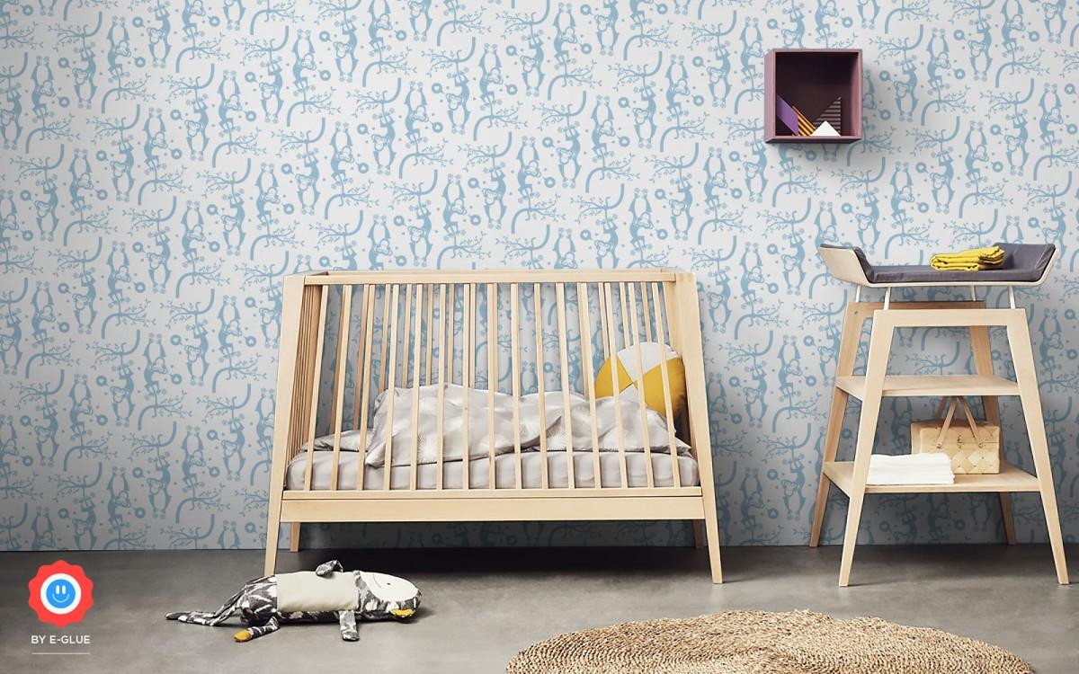papel pintado infantil mono