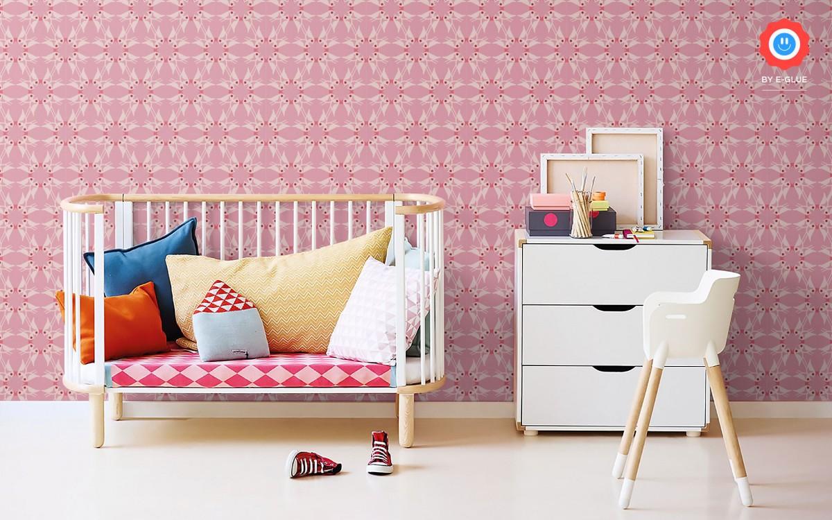 papel pintado pájaros para habitación infantil