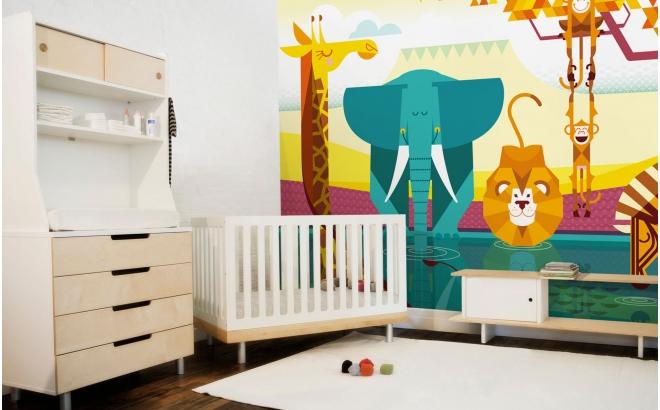 Mural Infantil Papel Pintado Selva Jungla Safari