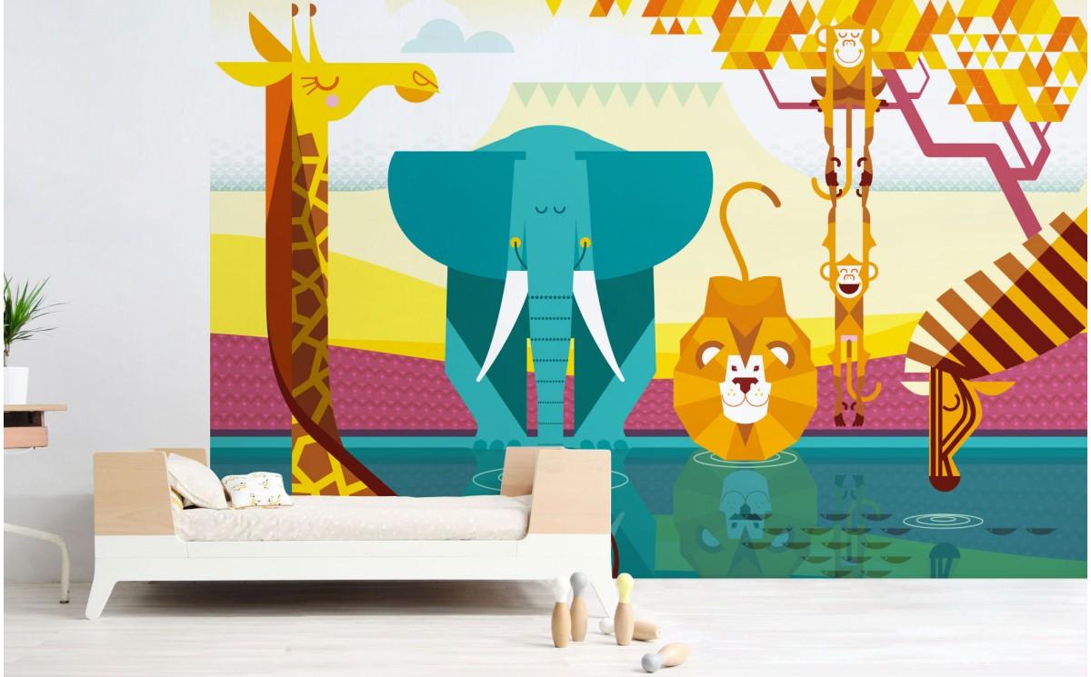 Savanna Jungle Kids Wall Murals Bespoke Kids Room Wallpaper: mural wallpaper