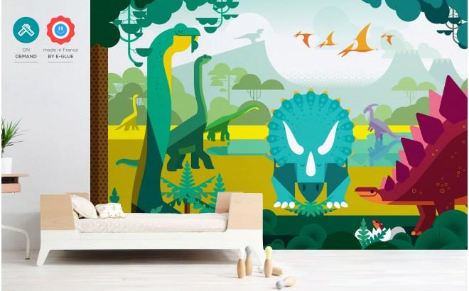 papier peint enfant dinosaure d co chambre gar on sur mesure. Black Bedroom Furniture Sets. Home Design Ideas