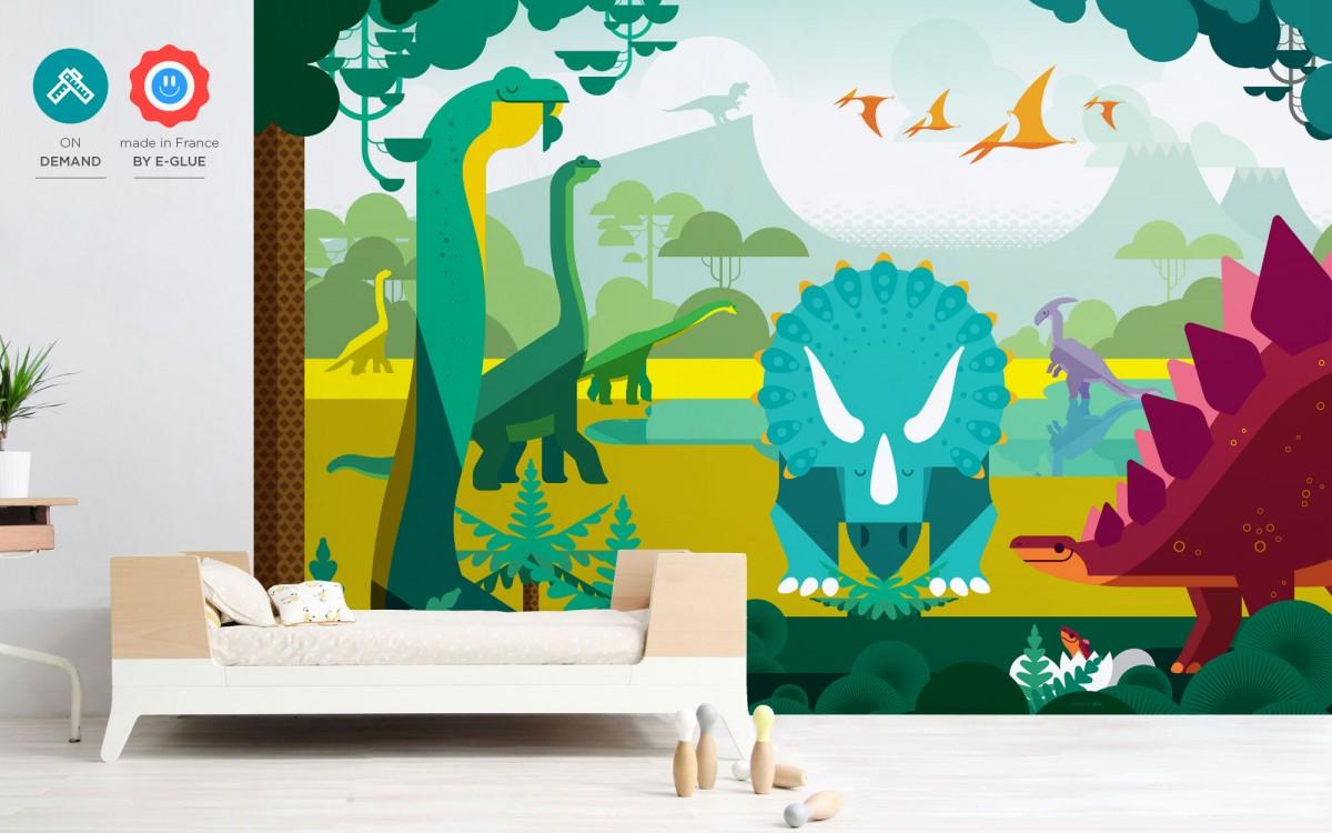 papier peint enfant dinosaure sur mesure