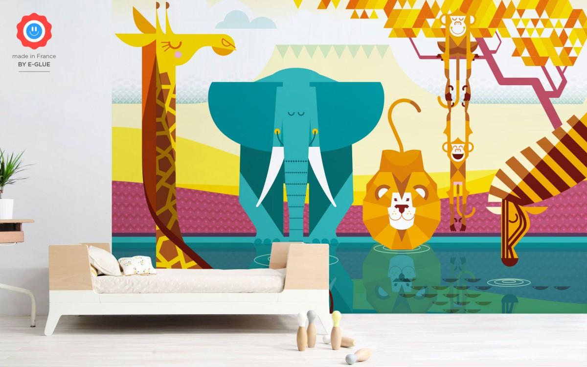 mural infantil de papel XXL Selva Africana