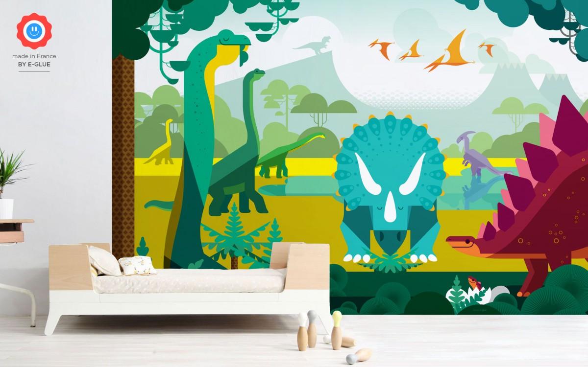 mural infantil de papel XXL dinosaurios