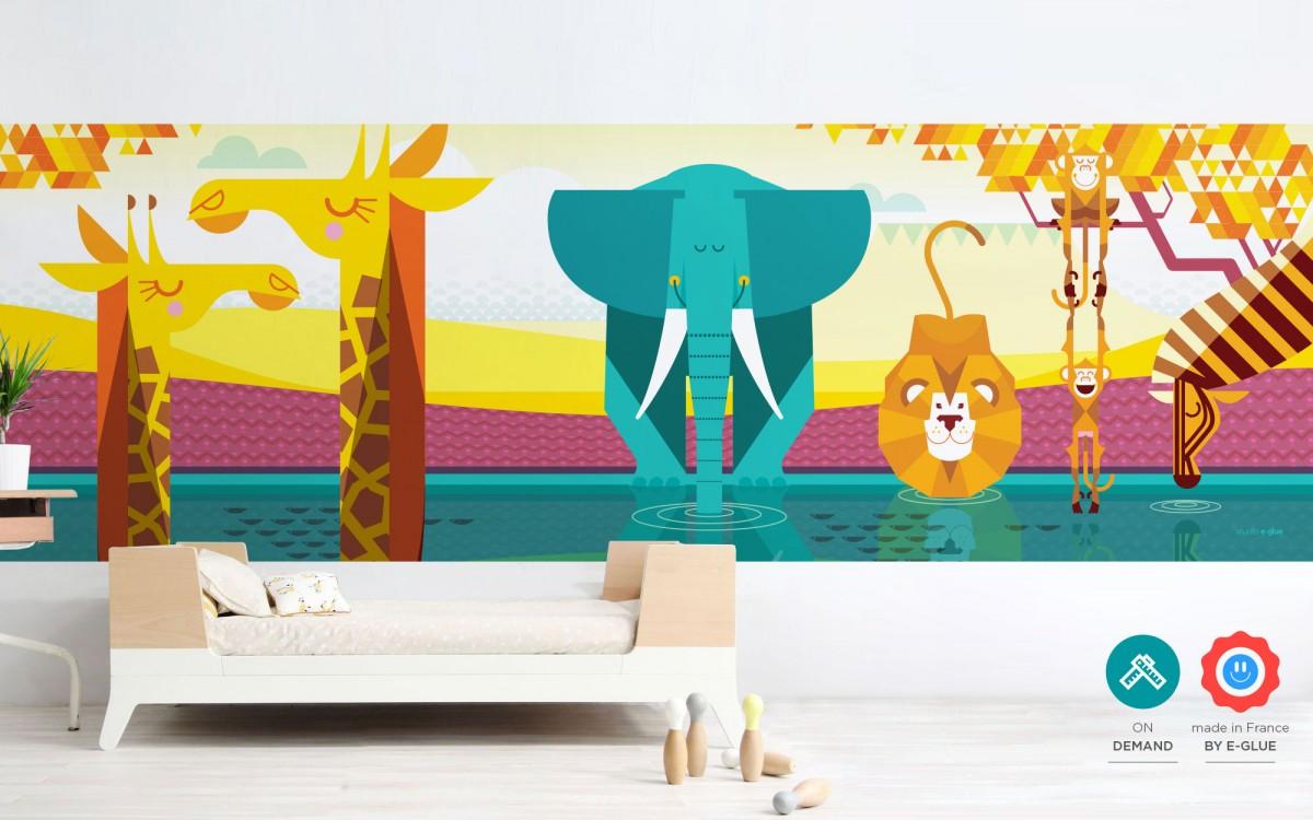 mural panorámico infantil selva
