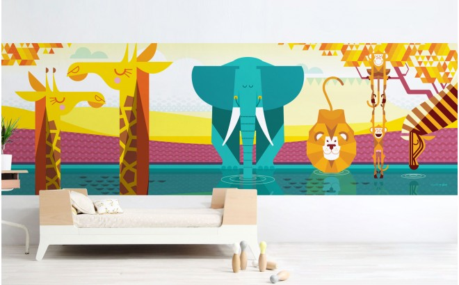 Mural Infantil Papel Pintado a Medida panorámico planicie Africana