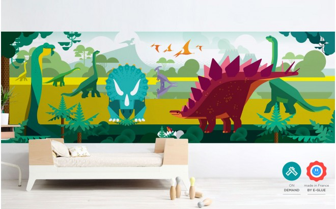 panoramic dinosaurs wallpaper for kids boy room