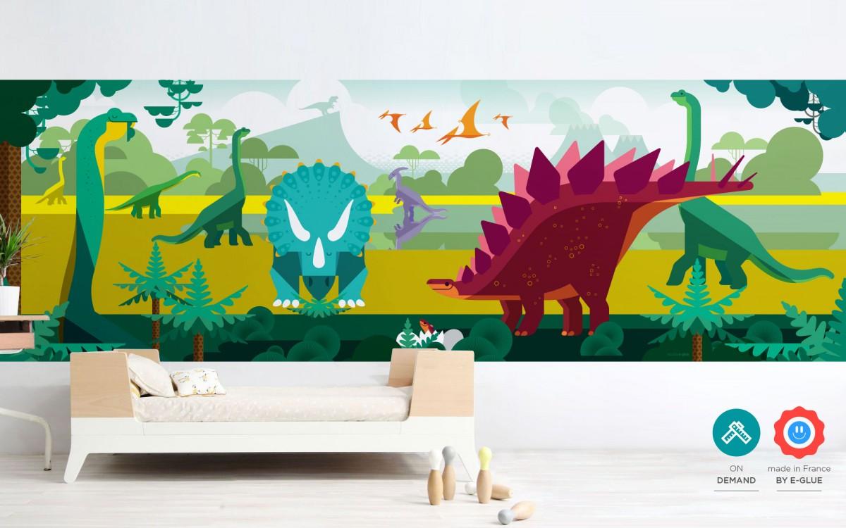 mural infantil panorámico dinosaurios