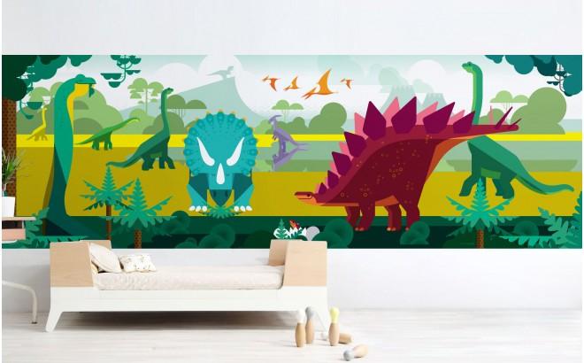 mural infantil panorámico dinosaurios para habitaciones infantiles niños