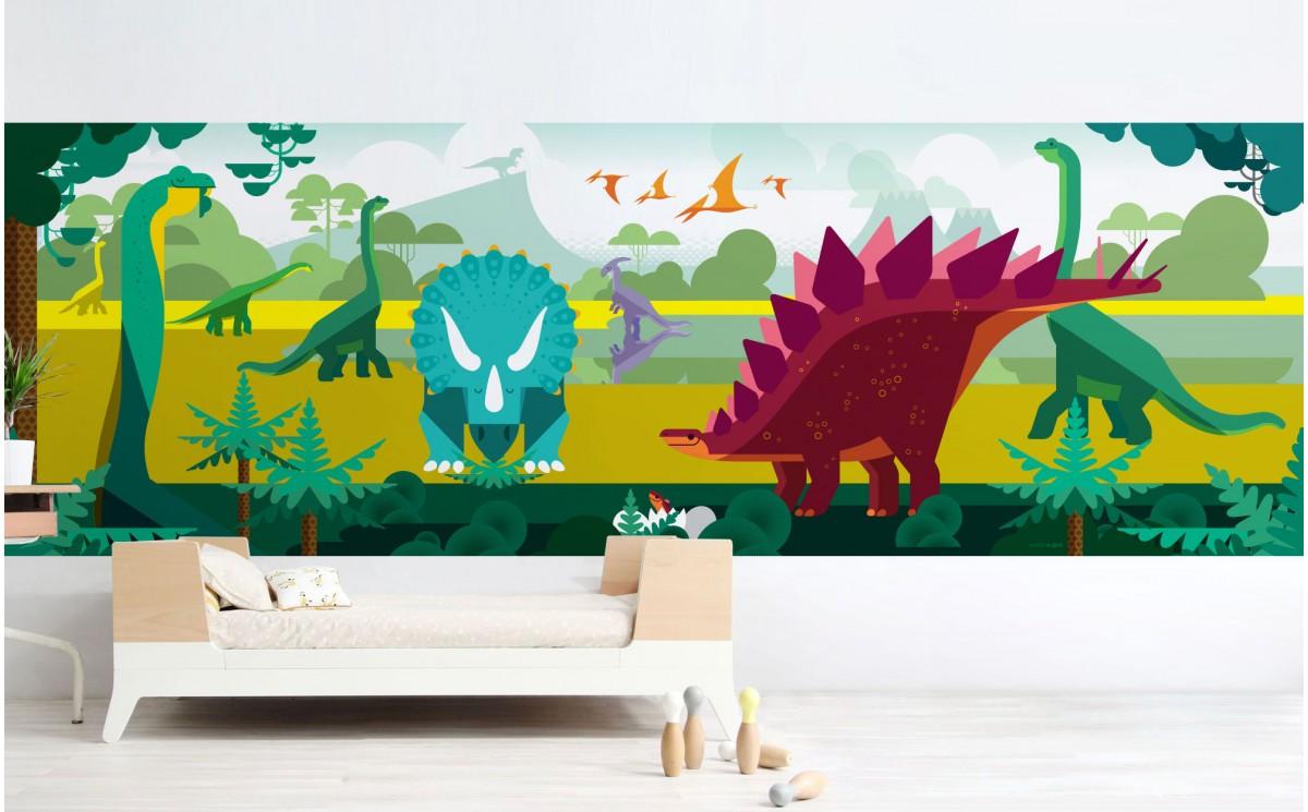 papier peint panoramique dinosaure d co murale enfant sur mesure. Black Bedroom Furniture Sets. Home Design Ideas