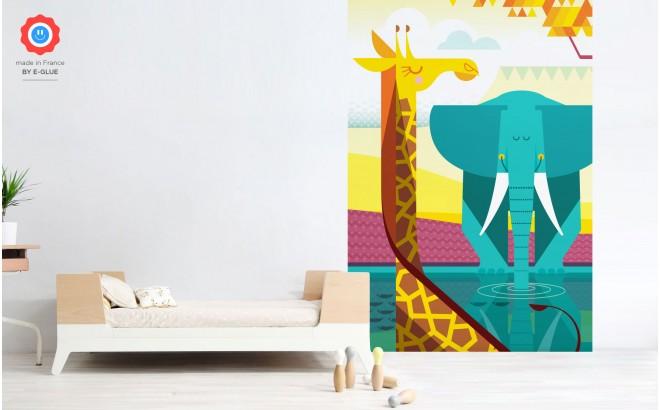 Fresque Murale Papier-Peint Enfants sur Mesure girafe éléphant