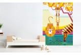 Fresque Murale Papier-Peint Enfants sur Mesure, singes, lion, zèbre