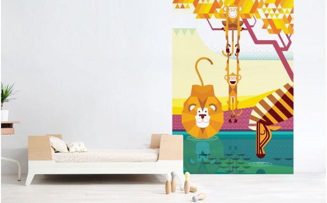Mural Infantil Papel Pintado a Medida monos, león, cebra