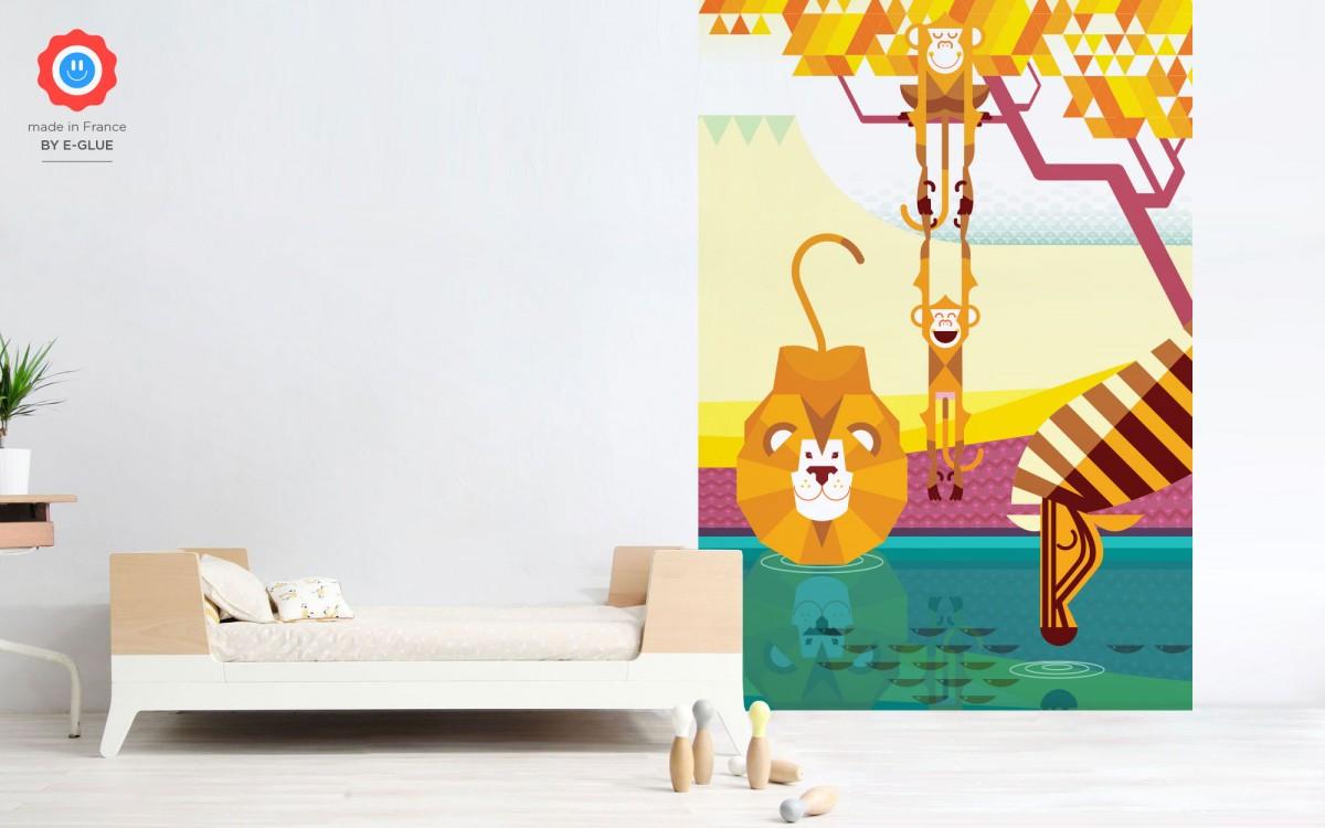 papier peint enfant singe, lion, zèbre