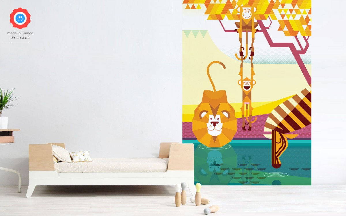 kids wallpaper mural monkeys, lion, zebra