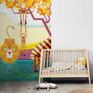 poster mural animaux de la jungle savane papier peint enfant b b. Black Bedroom Furniture Sets. Home Design Ideas