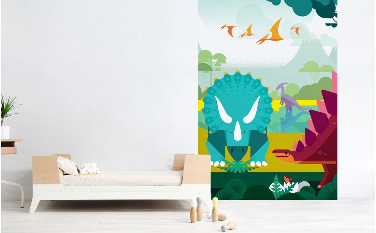 papier peint enfant dinosaures d co murale chambre. Black Bedroom Furniture Sets. Home Design Ideas