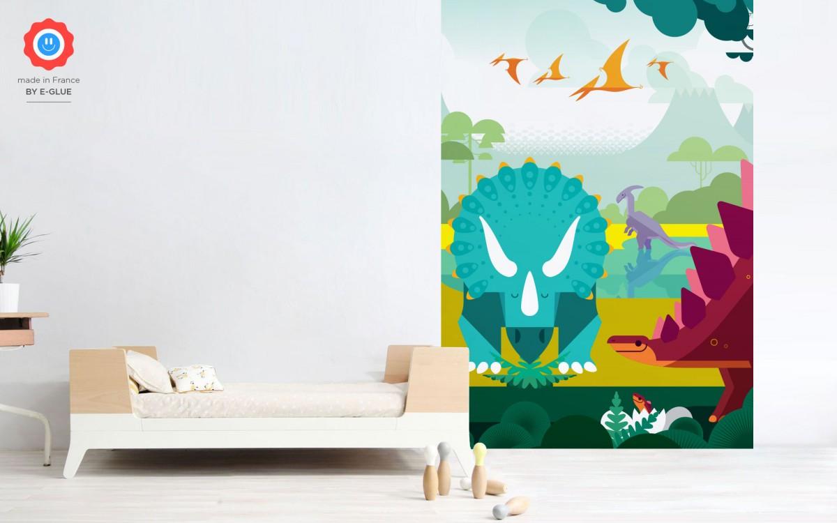 mural infantil dinosaurios, estegosaurio y triceratopo