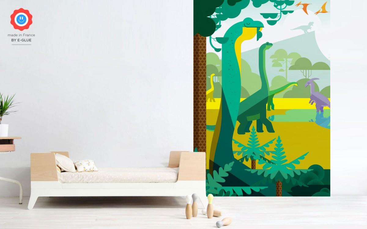 papier peint enfant dinosaure, brachiosaure et tyrannosaure