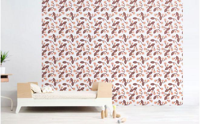 Papel pintado flores rosa decoraci n habitaci n infantil for Decoracion habitacion bebe papel pintado