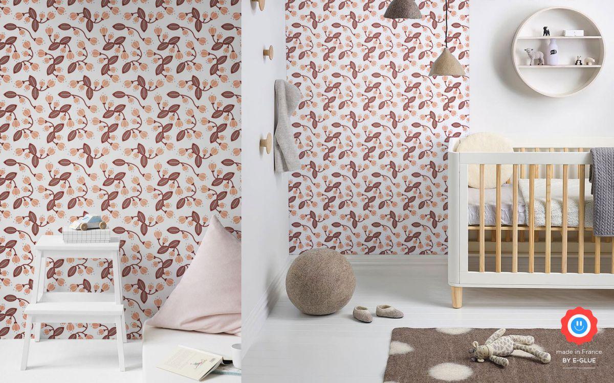 papier peint floral pour chambre fille ou bébé - rose