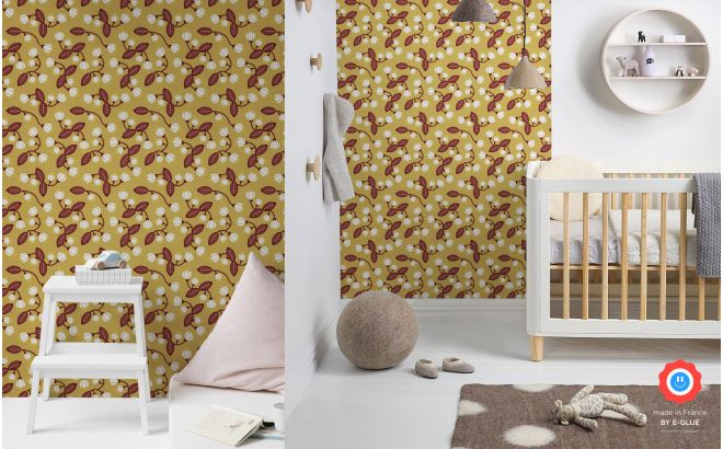 japanese cherry blossom flowers wallpaper for kids room, girls room by e-glue design