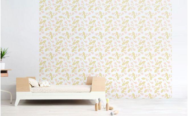 papel pintado infantil de flores pastel para habitación bebé o niña