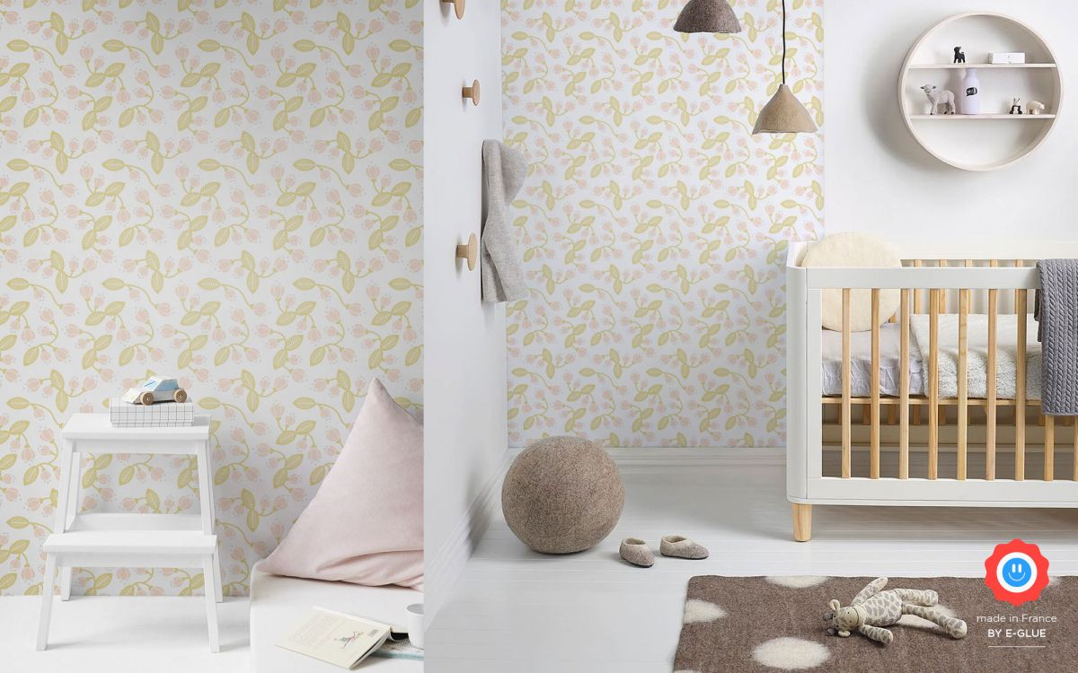 papel pintado infantil flores bebé o niña - pastel