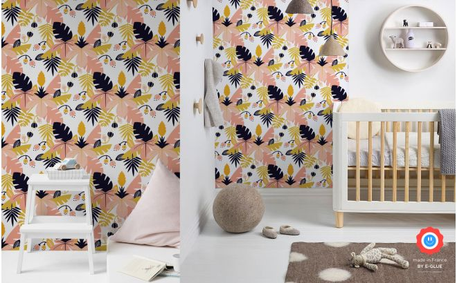 pink tropical jungle leaves wallpaper for kids room, girls room