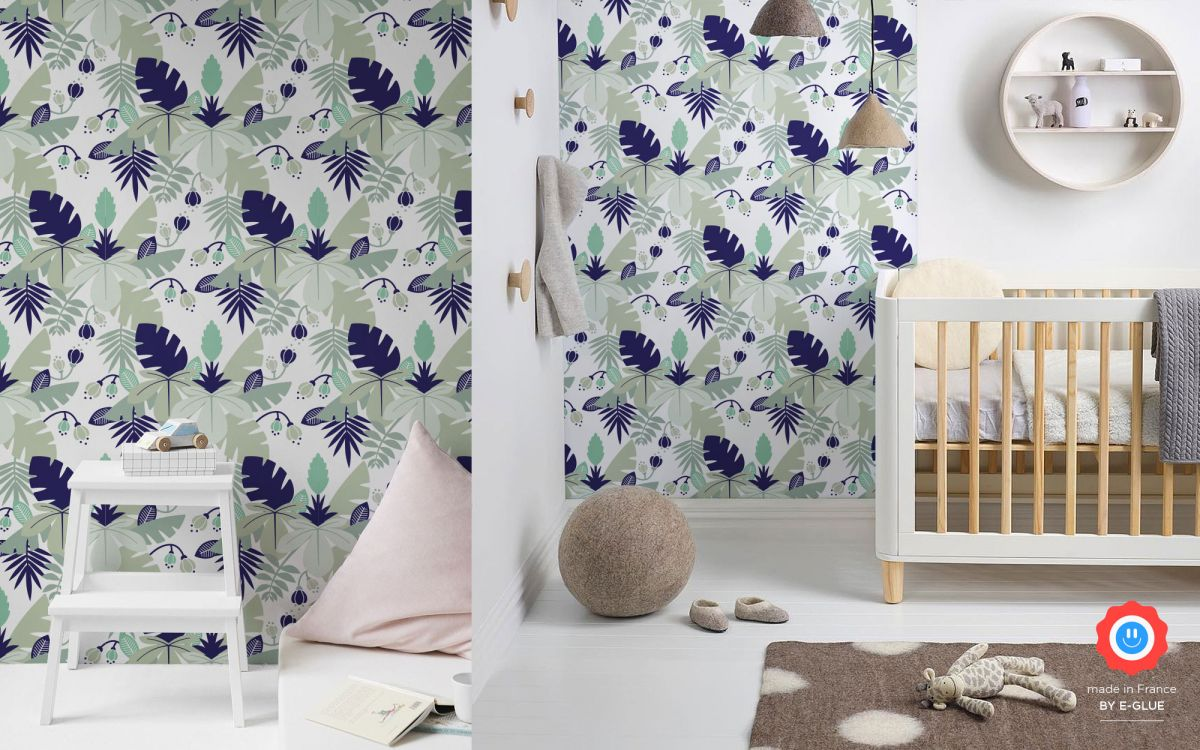 jungle leaves wallpaper for boys - blue