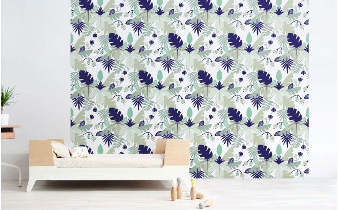 Papier Peint Jungle Bleu Decoration Murale Chambre Garcon