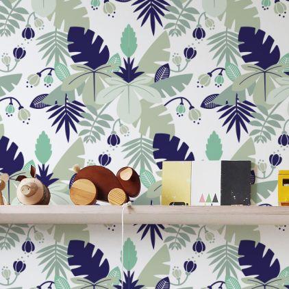 Blue Tropical Jungle Leaves Wallpaper For Kids Room Boys