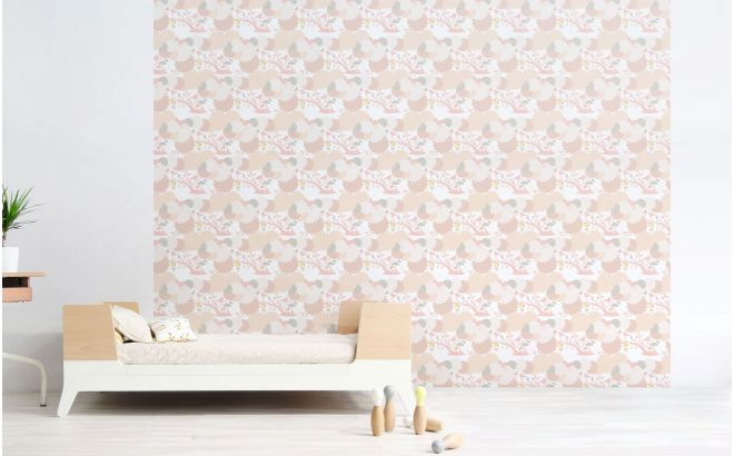 papier peint oiseaux et feuillage rose pour chambre enfant bébé ou fille