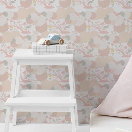 papier peint oiseaux et feuillage rose pour chambre enfant bb ou fille