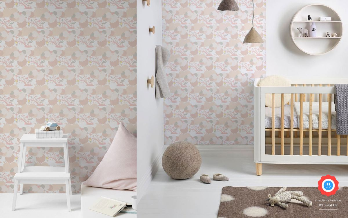 bird wallpaper for girls room or nursery - pink