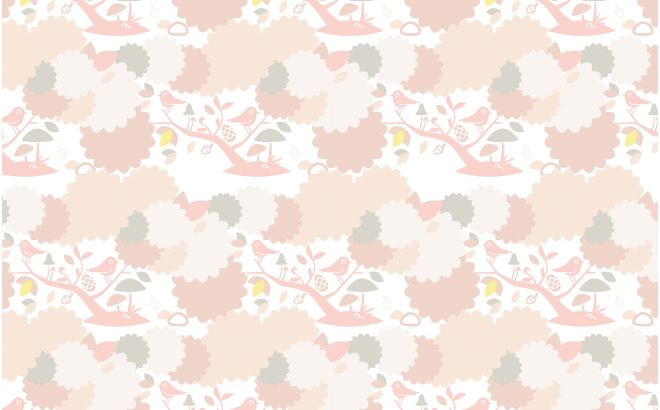 cute pink bird wallpaper for kids room, girls room or baby nursery