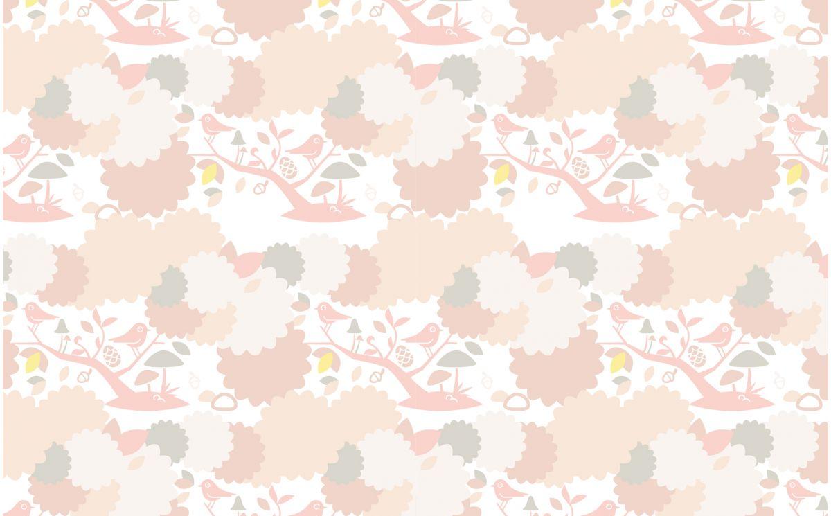 pink bird nursery wallpaper - girls room wallpaper and wall murals