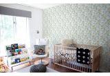 papel pintado infantil de pájaros y follaje azul para habitación bebé o niña