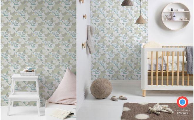 papier peint oiseaux et feuillage bleu pour chambre enfant bébé ou garçon