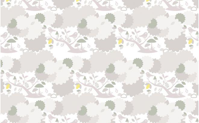 papier peint oiseaux et feuillage gris pour chambre enfant ou bébé