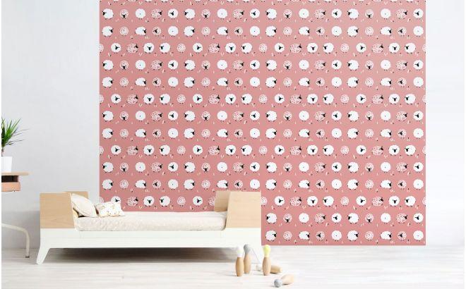 Papier peint mouton rose d co chambre b b et enfant - Papier peint chambre bebe fille ...