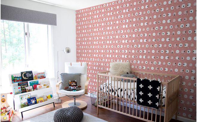 cute pink sheep nursery wallpaper for kids room, girls room or baby room