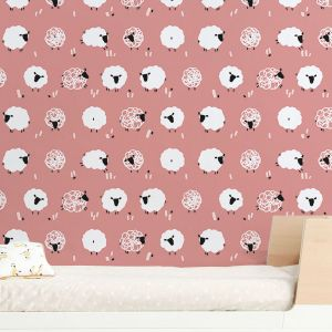 PINK SHEEP NURSERY WALLPAPER
