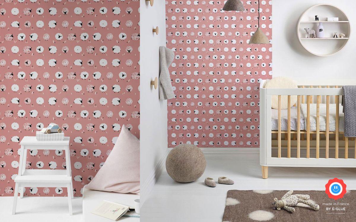papel pintado infantil con ovejas - rosa