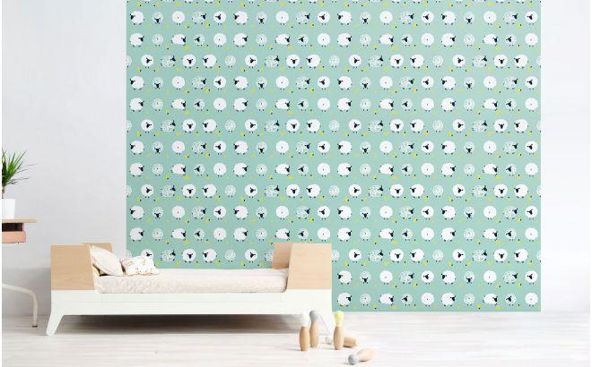 papier peint mouton bleu menthe pour chambre bébé ou chambre garçon