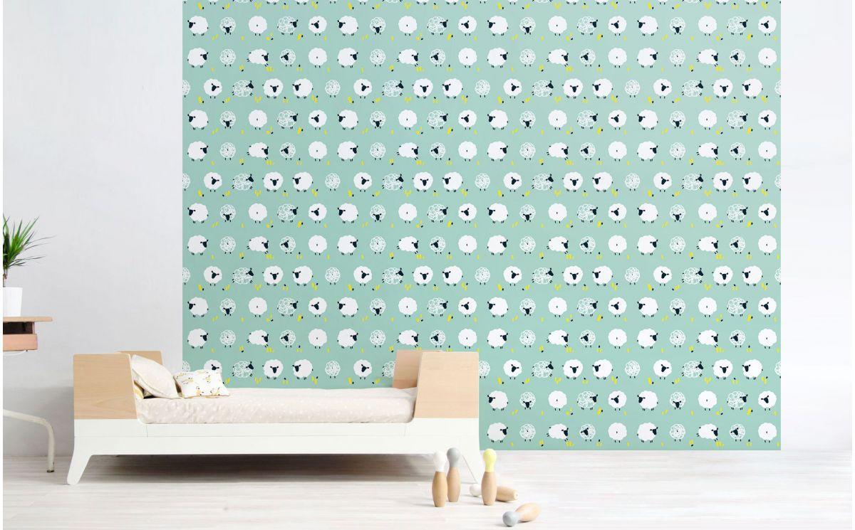 papier peint mouton bleu menthe d co chambre b b. Black Bedroom Furniture Sets. Home Design Ideas