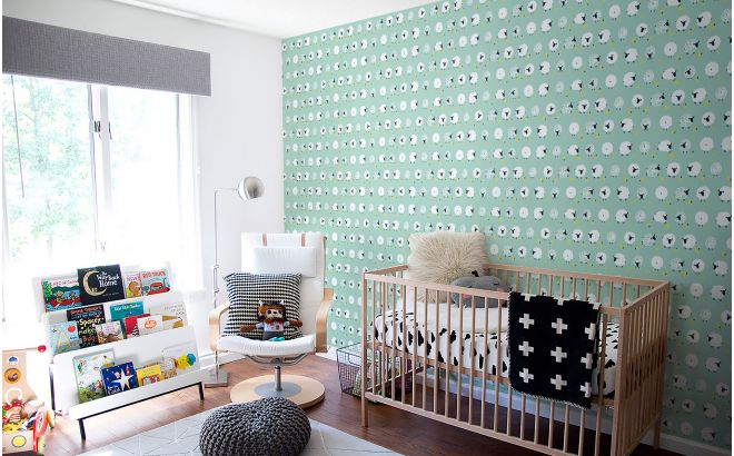 papel pintado infantil bebé azul menta con ovejas lindas para habitación bebés o niños